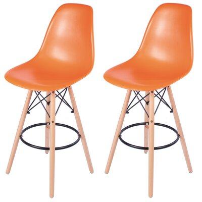 Siple Mid-Century Modern Retro 26.5 Bar Stool Color: Orange