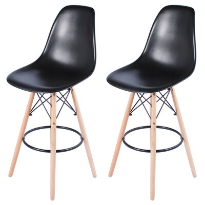 Siple Mid-Century Modern Retro 26.5 Bar Stool Color: Black
