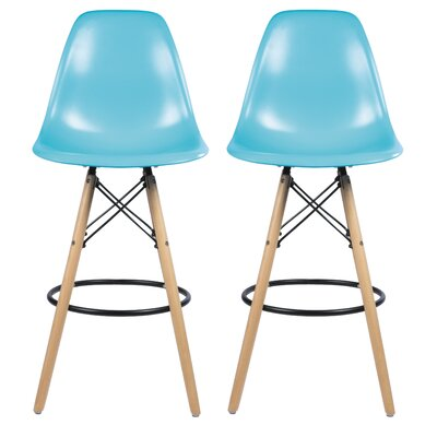 Siple Mid-Century Modern Retro 26.5 Bar Stool Color: Blue
