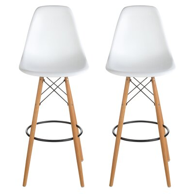 Sipos Mid-Century Modern Retro 31.5 Bar Stool Frame Color: Beige, Seat Color: White
