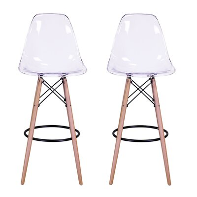 Sipos Mid-Century Modern Retro 31.5 Bar Stool Frame Color: Beige, Seat Color: Clear