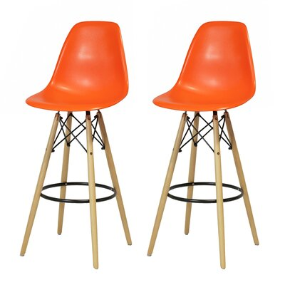 Sipos Mid-Century Modern Retro 31.5 Bar Stool Frame Color: Brown/Yellow, Seat Color: Orange