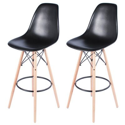 Sipos Mid-Century Modern Retro 31.5 Bar Stool Frame Color: Cream, Seat Color: Black