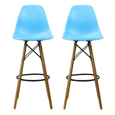 Sipos Mid-Century Modern Retro 31.5 Bar Stool Frame Color: Brown/Yellow, Seat Color: Blue