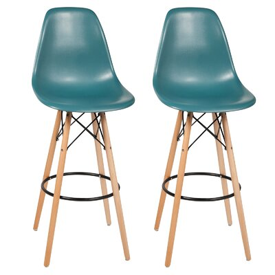 Sipos Mid-Century Modern Retro 31.5 Bar Stool Frame Color: Brown/Yellow, Seat Color: Teal