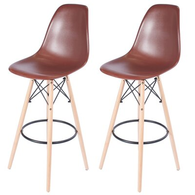 Sipos Mid-Century Modern Retro 31.5 Bar Stool Frame Color: Cream, Seat Color: Brown