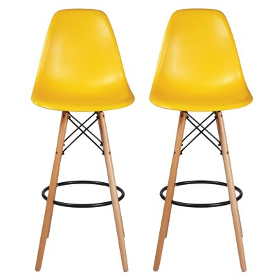 Sipos Mid-Century Modern Retro 31.5 Bar Stool Frame Color: Brown/Yellow, Seat Color: Yellow