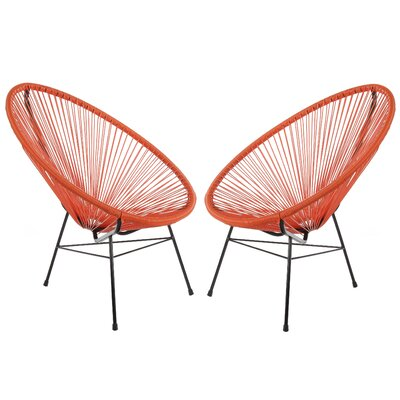 Acapulco Papasan Chair Finish: Orange, Set Of: Set of 2