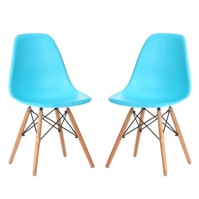 Verrill Mid Century Modern Retro Dining Chair Color: Blue