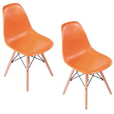 Verrill Mid Century Modern Retro Dining Chair Color: Orange