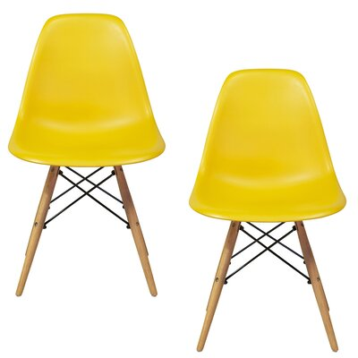 Verrill Mid Century Modern Retro Dining Chair Color: Yellow