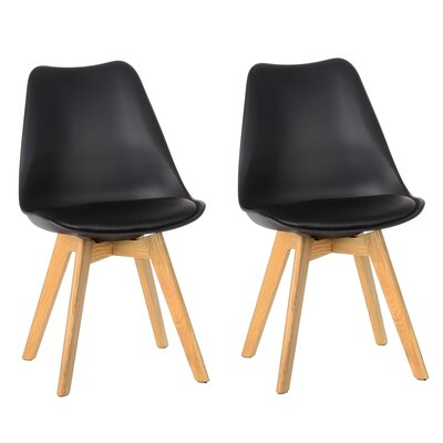 Amira Upholstered Dining Chair Color: Black