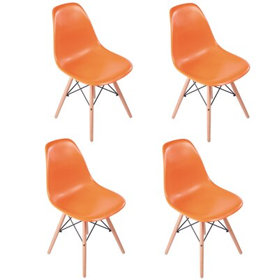 Bailee Mid Century Modern Retro Dining Chair Color: Orange
