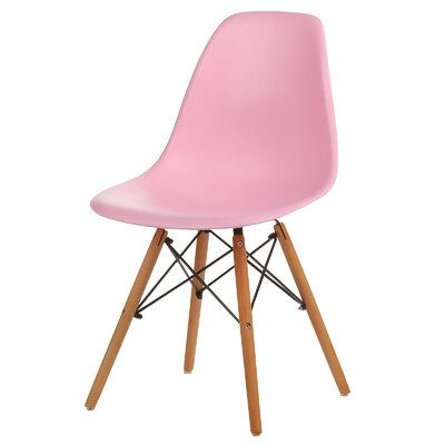 Plastic Molded Solid Wood Dining Chair Color: Pink PV-EMS2-PK