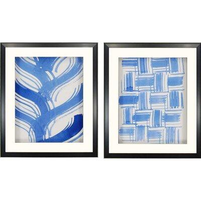 Macreme Blue II by Lam 2 Piece Framed Graphic Art Set 7644
