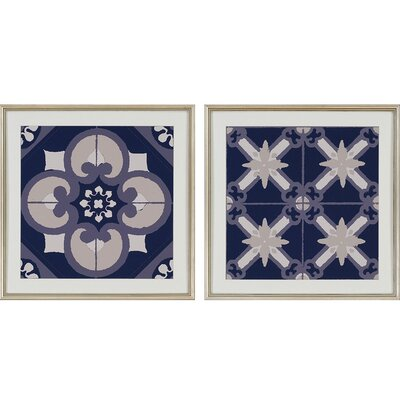 Classic Blue I by Adamson-Ray 2 Piece Framed Graphic Art Set 1444