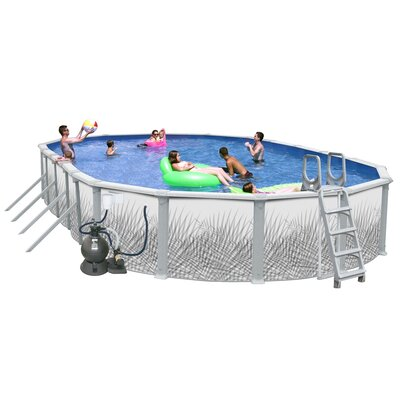 Heritage Pools Oval Complete Hamilton Above Ground Pool Package - Size: 30' L x 15' W