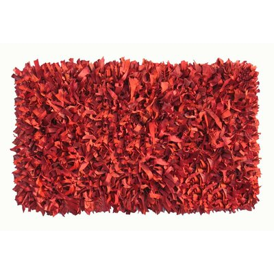 Thalassa Premium Leather Red Rug Rug Size: Runner 2 x 6