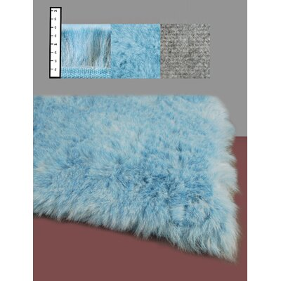 Benes Hand-Tufted Faux Fur Blue Area Rug Rug Size: Square 6