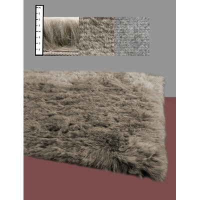 Eros Faux Flokati Brown Area Rug Rug Size: Square 4