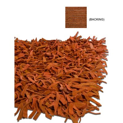 Thalassa Premium Leather Terracotta Rug Rug Size: 36 x 56
