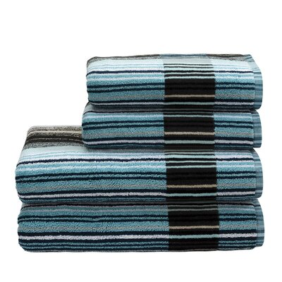Supreme Capsule Stripe Cotton Bath Towel Color: Aqua