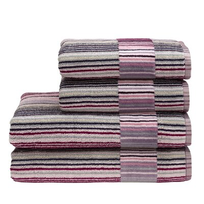 Supreme Capsule Stripe Cotton Bath Towel Color: Berry