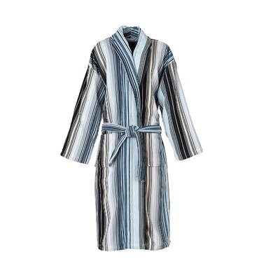 Capsule Stripe Robe Bathrobe Color: Stripe Aqua, Size: Small