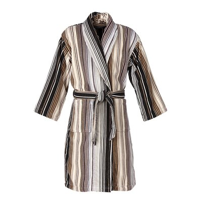 Capsule Stripe Robe Bathrobe Color: Stripe Neutral, Size: Small