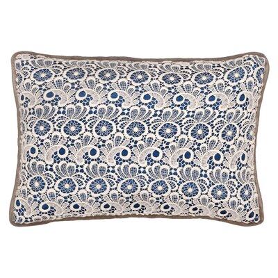 Lace Cotton Lumbar Pillow Color: Petrol
