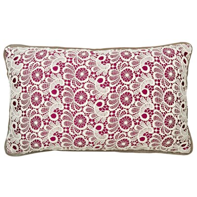 Lace Cotton Lumbar Pillow Color: Plum