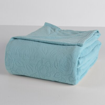 Embossed Roses Microfleece? Sheet Set Size: Twin, Color: Glacier Blue