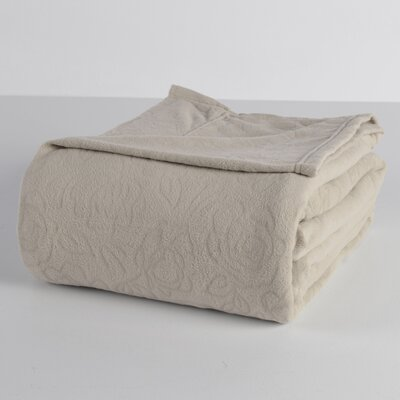 Embossed Roses Microfleece? Sheet Set Color: Grain, Size: King