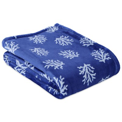 Coral Printed Throw Color: Navy
