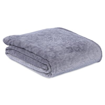 Engraved Damask Scroll Blanket Size: Full/Queen, Color: Pebble Grey
