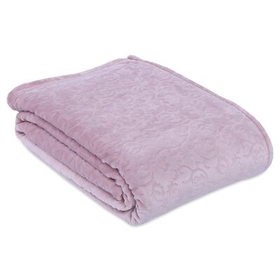 Engraved Damask Scroll Blanket Size: King, Color: Pink Champagne