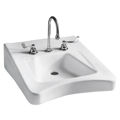 Wheelchair 20 Wall mount Bathroom Sink with Overflow Faucet Mount: 4 Centers