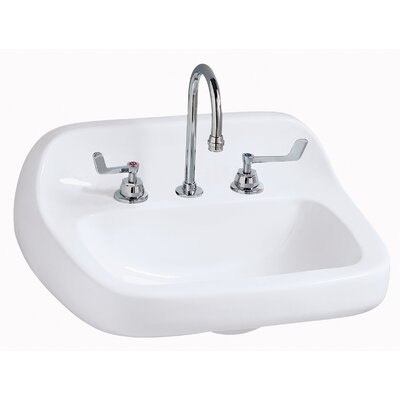 Grande Isle 22 Wall mount Bathroom Sink with Overflow Faucet Mount: 8 Centers