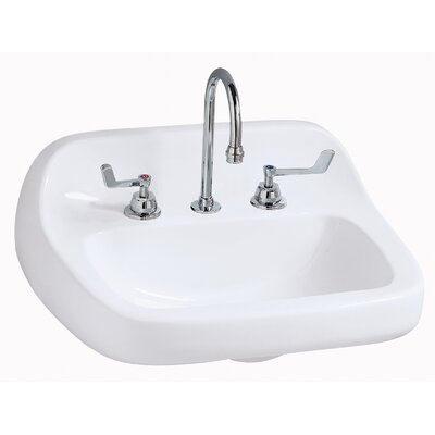 Grande Isle Vitreous China 22 Wall Mount Bathroom Sink Faucet Mount: 8 Centers