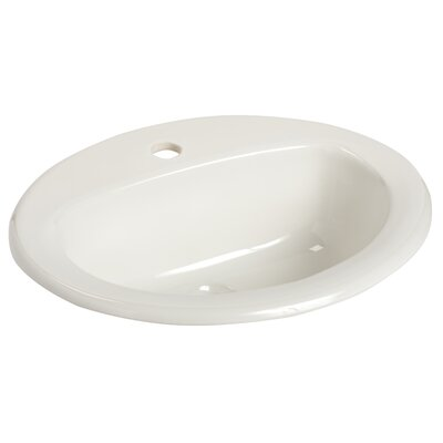 MS Vitreous China Oval Drop-In Bathroom Sink with Overflow Faucet Mount: Single