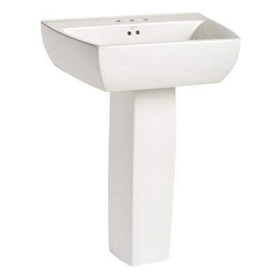Potenza Vitreous China 25 Pedestal Bathroom Sink with Overflow