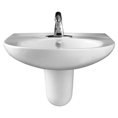 Pamlico Vitreous China Semi Pedestal Bathroom Sink with Overflow