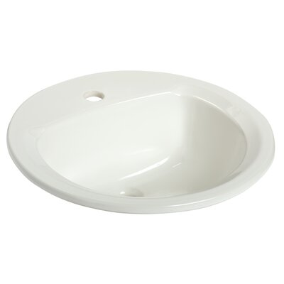 Maverick I Vitreous China Circular Drop-In Bathroom Sink with Overflow Faucet Mount: Single