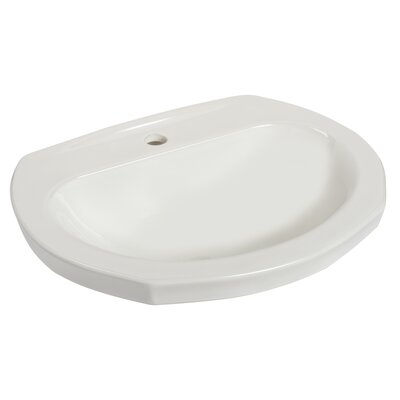 Montclair Vitreous China Circular Drop-In Bathroom Sink with Overflow Faucet Mount: Single