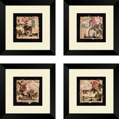 Mazie Postcards 4 Piece Framed Graphic Art Set
