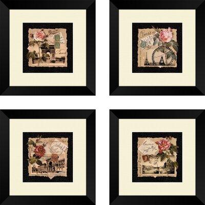 Mazie Postcards 4 Piece Framed Graphic Art Set