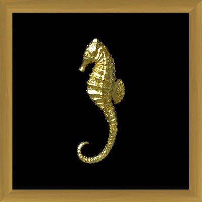 Shadowbox Framed Golden Seahorse Wall Decor 1-30798