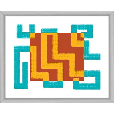 Red, Blue and Gold III Maze Framed Graphic Art 1-25452A