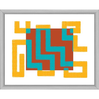 Red, Blue and Gold IV Maze Framed Graphic Art 1-25452B