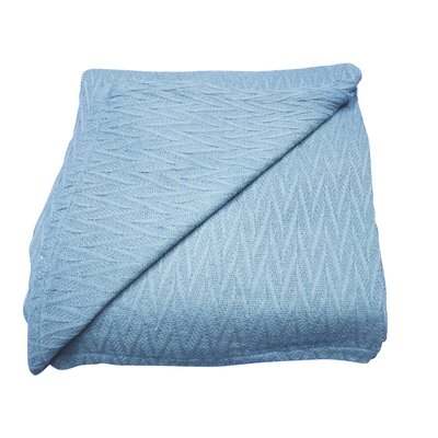 Herringbone Thermal Cotton Throw Blanket Size: Full / Queen, Color: Sky Blue